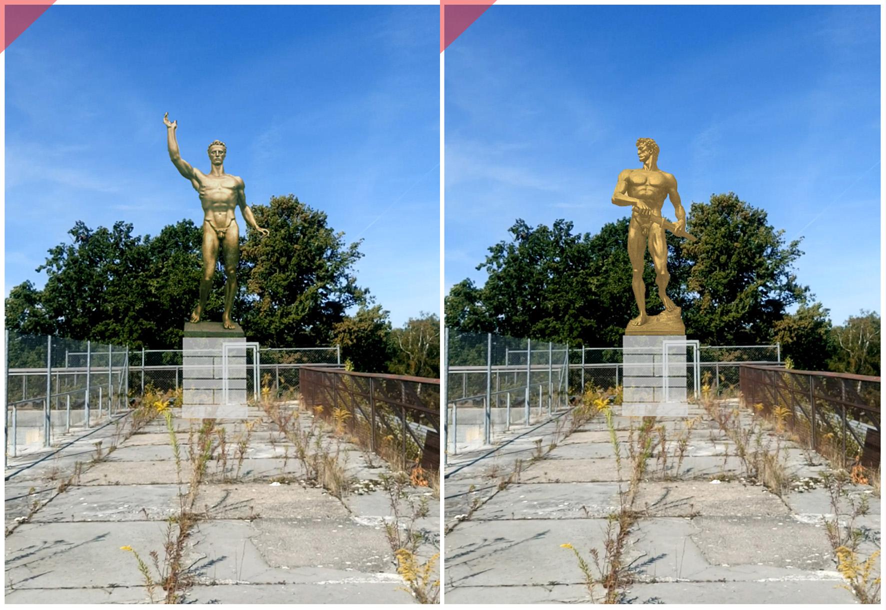 Zeppelintribüne-Nürnberg-Skulpturen-Plastiken-Arno-Breker-1939-der-Künder-die-Bereitschaft-vergoldet-Bronze-Zeppelin-field-grandstand-Nuremberg-sculptures-planned-figures-golden-gilded-bronze-Arno-Breker-1939-Seer-Readieness