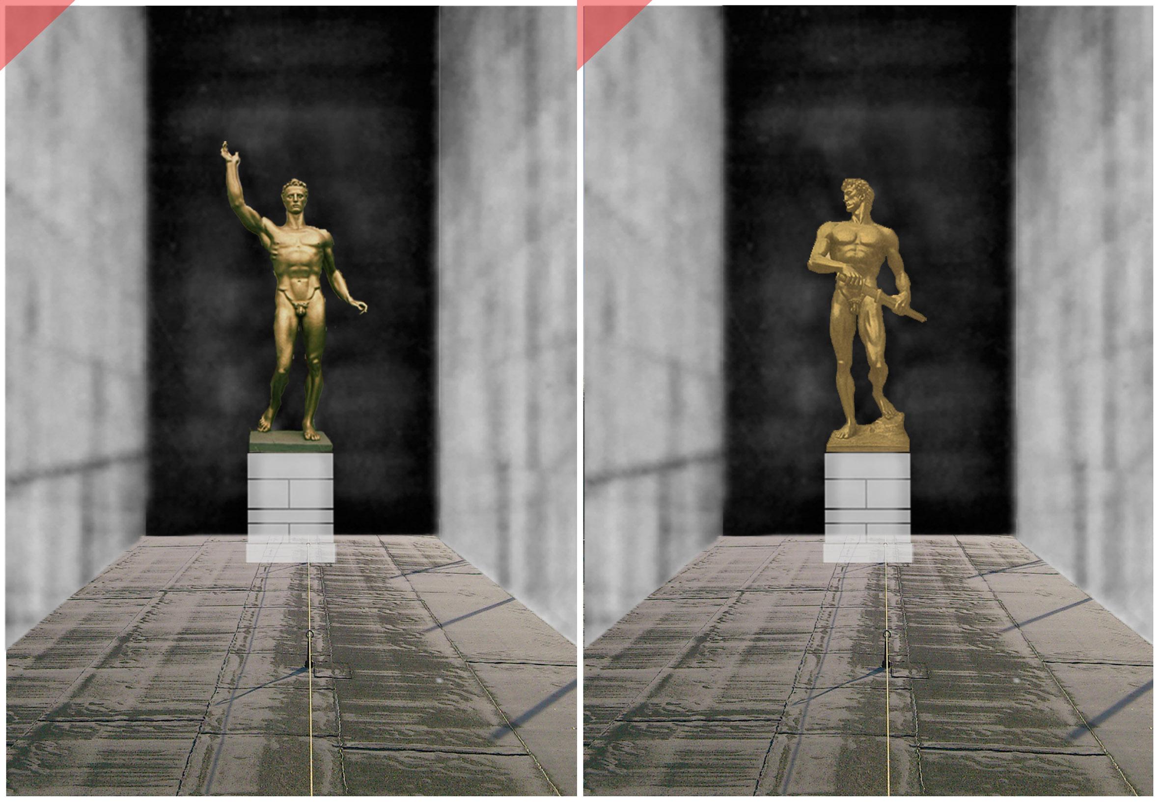 Zeppelintribüne-Nürnberg-Skulpturen-Plastiken-Arno-Breker-1939-Künder-Bereitschaft-vergoldet-Bronze-Säulen-Kolonnaden-1967-Zeppelin-field-grandstand-Nuremberg-sculptures-planned-figurine-golden-gilded-bronze Arno-Breker-1939-Seer-Readieness