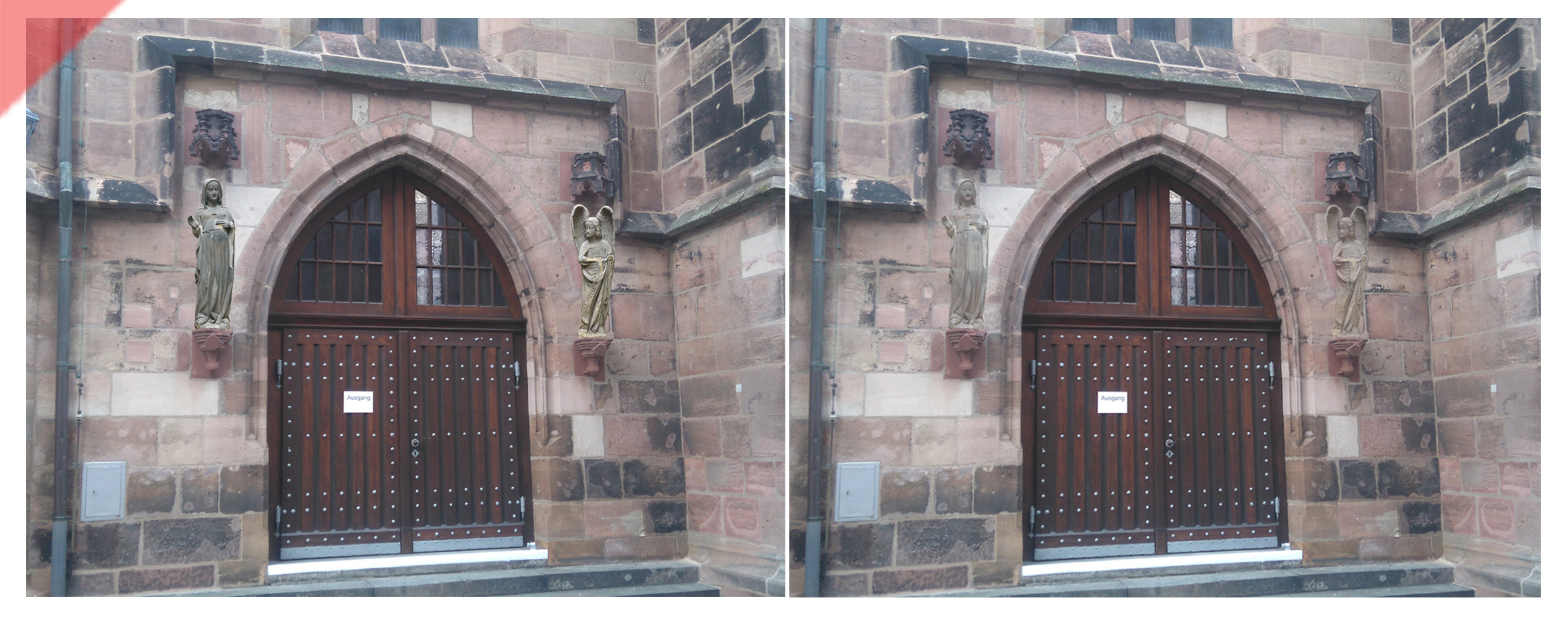 Frauenkirche-Liebfrauenkirche-Nürnberg-zwei-Skulpturen-Maria-Erzengel-Südportal