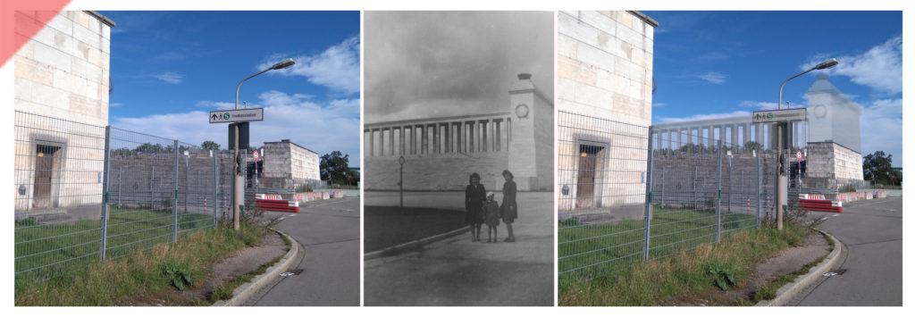 Zeppelintribüne-Besucher-Familie-Säulen-Kolonnaden-Damals-Jetzt