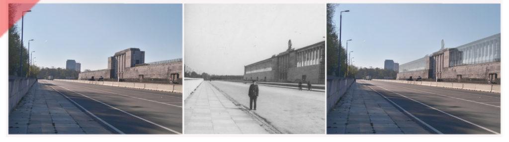 Zeppelintribüne-Zeppelinfeld-Soldat-Rückseite-Tribüne-Besucher-Paar-Säulen-Kolonnaden-Damals-Jetzt