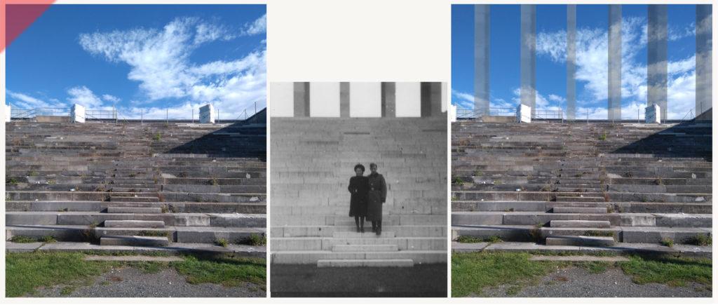 Zeppelintribüne-Zeppelinfeld-Besucher-Paar-Säulen-Kolonnaden-Damals-Jetzt