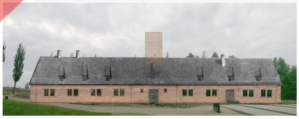 superimpose-now-then-in-color-colour-1943-1944-Auschwitz-Birkenau-Krematorium-crematorium-color-farbig-2-II-north-side-Nordseite-Ueberblenden-now-then-comparison-Damals-Jetzt-Vergleich-1943-1944-Foto