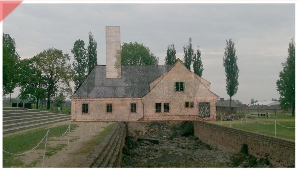 superimpose-now-then-in-color-colour-1943-1944-Auschwitz-Birkenau-Krematorium-crematorium-color-farbig-2-II-west-side-Westseite-Ueberblenden-now-then-comparison-Damals-Jetzt-Vergleich-1943-1944-Foto