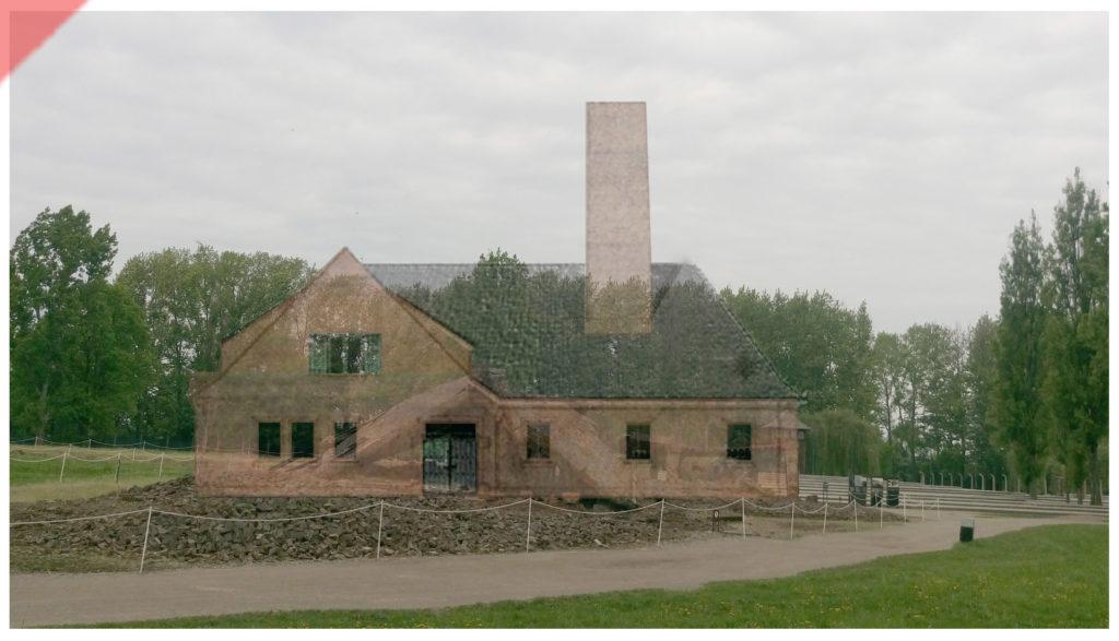 superimpose-now-then-in-color-colour-1943-1944-Auschwitz-Birkenau-Krematorium-Crematorium-farbig-color-2-II-Westseite-west-side-Ueberblenden-Then-now-Damals-Jetzt-Vergleich-1943-1944-Photo