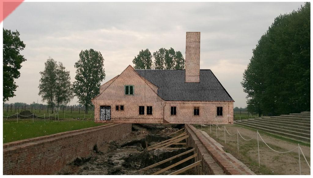 superimpose-now-then-in-color-colour-1943-1944-Auschwitz-Birkenau-crematorium-Krematorium-color-farbig-3-III-Ueberblenden-damals-jetzt-vergleich-now-then-1944-Photo