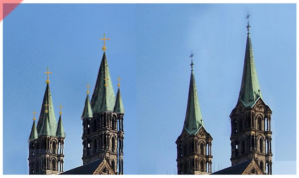 Bamberg-Dom-Türme-blei-westseite-westen-vergleich-damals-jetzt-höhe-optik-Turmhelme-Mittelalter-Panorama-Nordseite