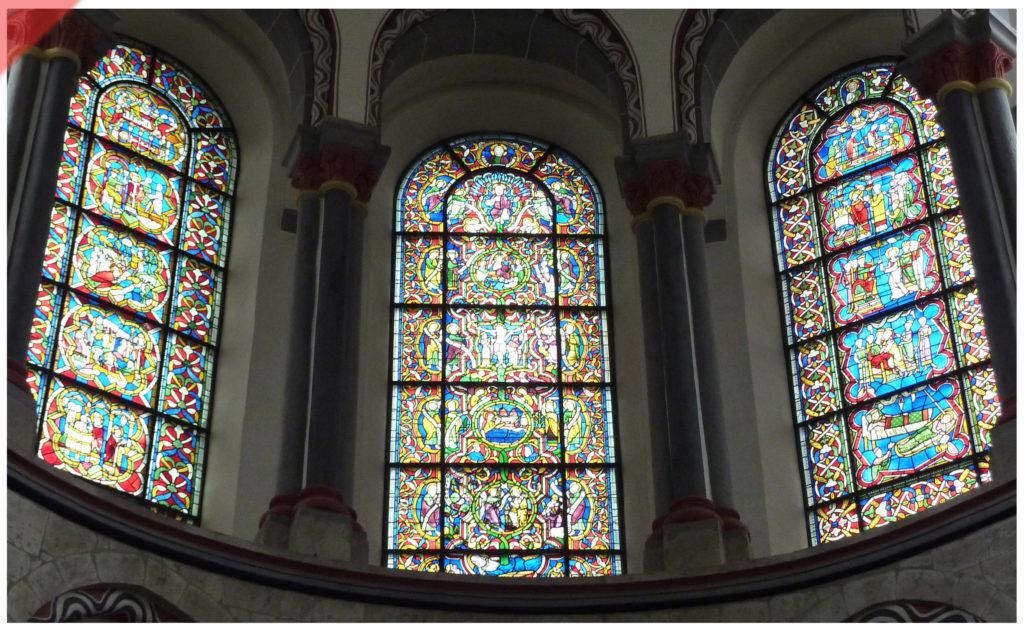Bamberg-Dom-alte-Glasfenster-Muster-romanisch-St.-Kunibert-Köln-Vergleich-Mittelalter