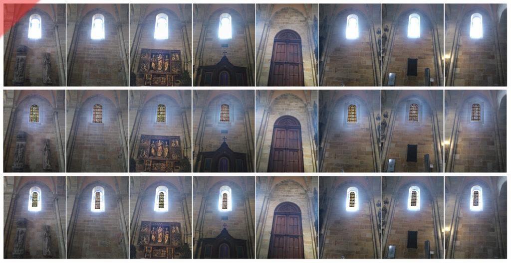 Bamberg-Dom-alte-Glasfenster-romanisch-Nordseite-3-Varianten-Jetzt-Damals-Kompromiss-bunt-farblos-Mittelalter-Panorama