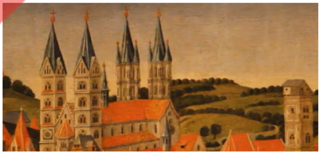 Bamberg-Dom-alte-Türme-1482-Gemälde-Ausschnitt-Spitzen-original