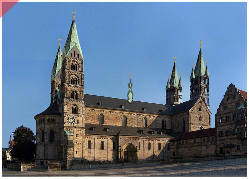 Bamberg-Dom-alte-Türme-BLEI-Turmhelme-Dachreiter-Mittelalter-Panorama-Nordseite