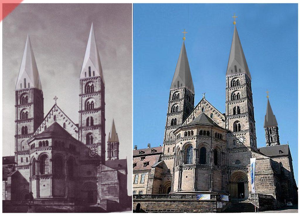 Bamberg-Dom-alte-Türme-Turmhelme-Georgschor-Mittelalter-Panorama