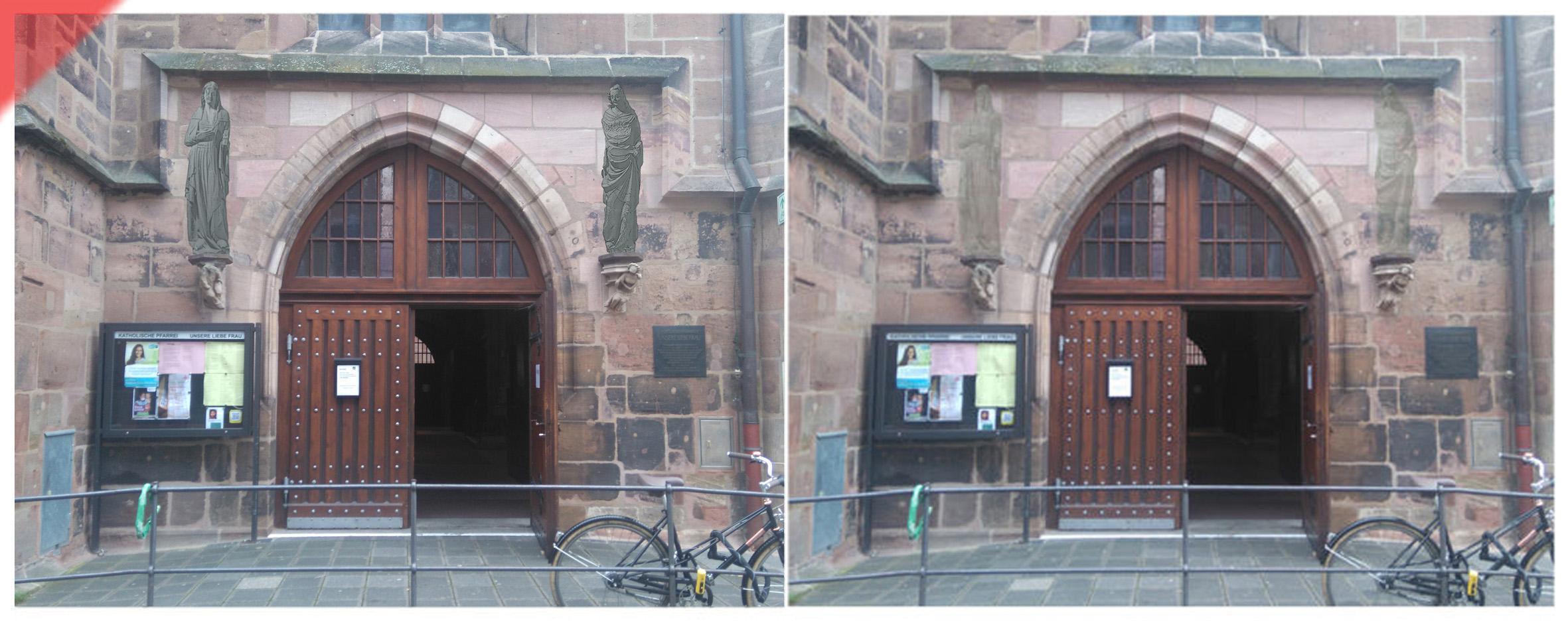 Frauenkirche-Liebfrauenkirche-grau-zwei-Skulpturen-Verkündung-Erzengel-Gabriel-Nordportal