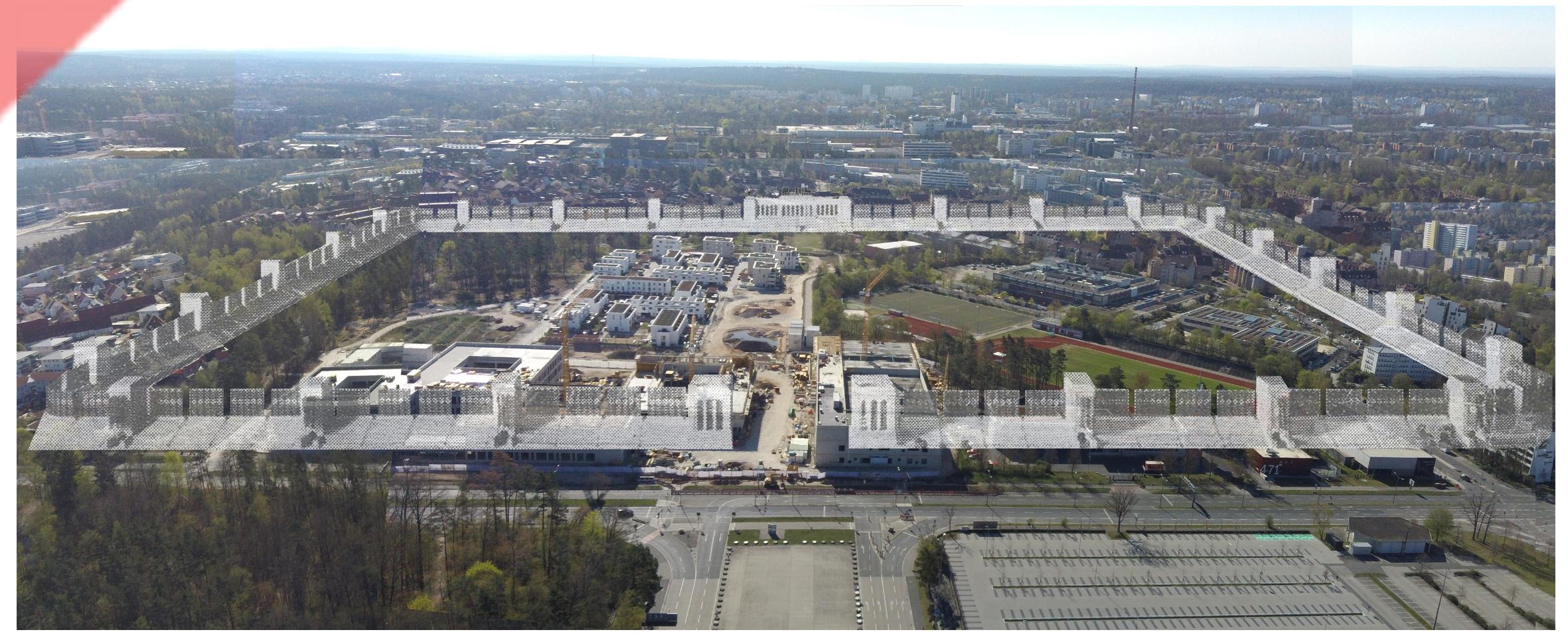 Märzfeld-Nürnberg-Reichsparteitagsgelände-Nürnberg-Große-Straße-Eingang-Panorama-Drohne-Luft-Blick-Damals-Jetzt-Vergleich