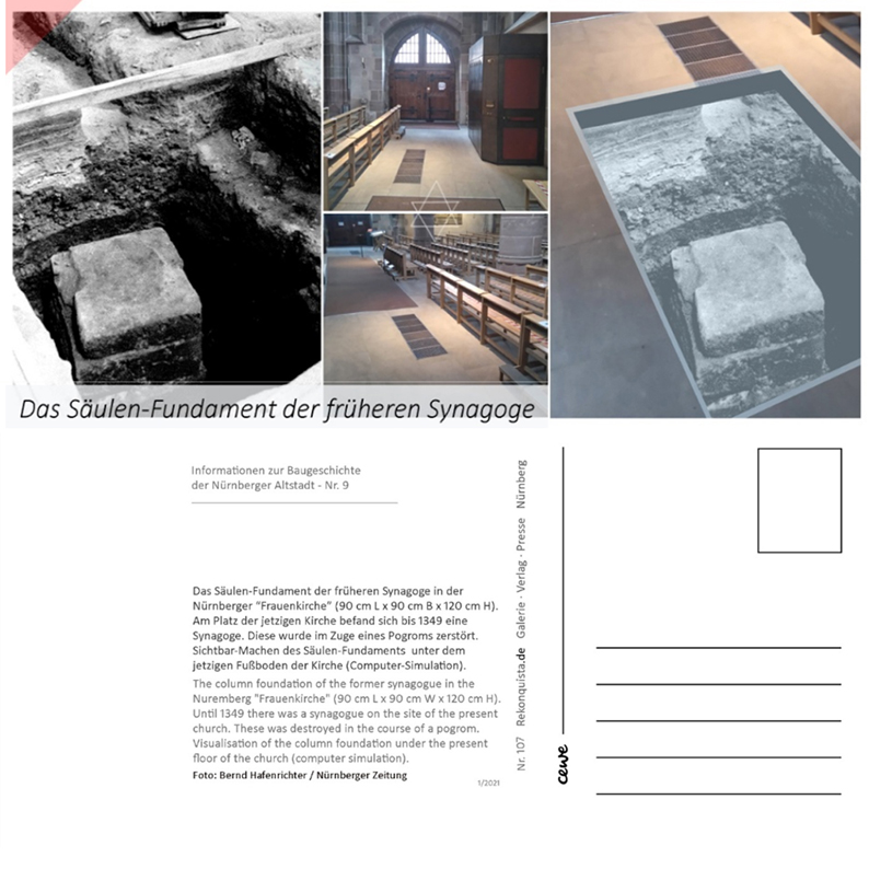 Postcard-base-of-column-1986-discovered-found-synagogue-Nuremberg-Hauptmarkt-1349-Pogrom-Postkarte-1-hoch-Fundament-Säule-1986-entdeckt-ausgegraben-Synagoge-Nürnberg-Hauptmarkt-1349-Pogrom-Frauenkirche
